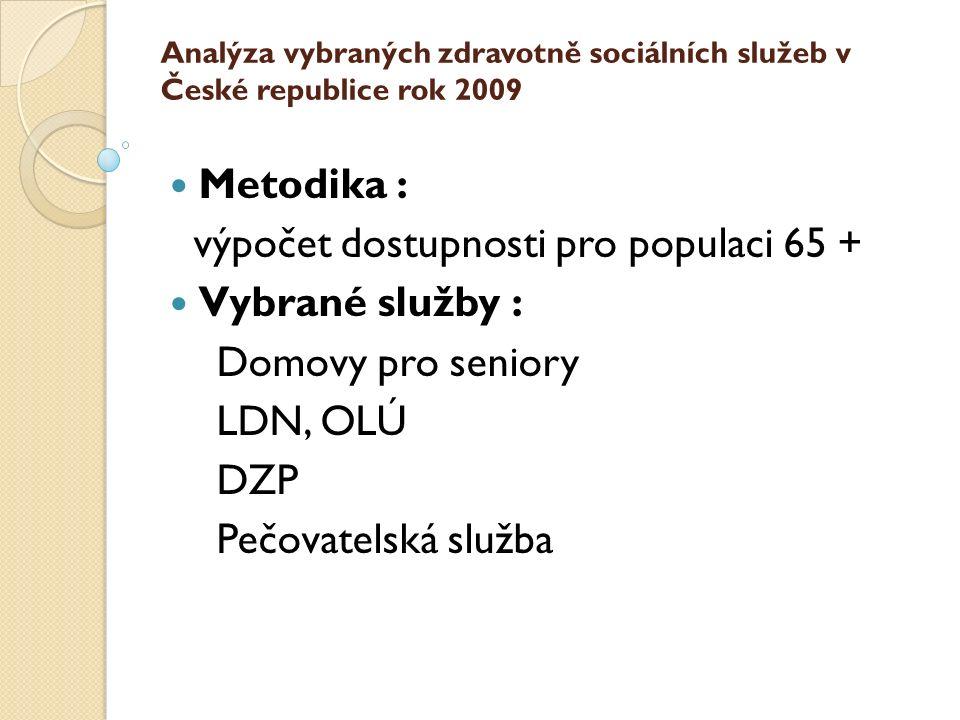 Analýza vybraných zdravotně sociálních služeb v České republice rok 2009 Metodika : výpočet dostupnosti pro populaci 65 + Vybrané služby : Domovy pro seniory LDN, OLÚ DZP Pečovatelská služba