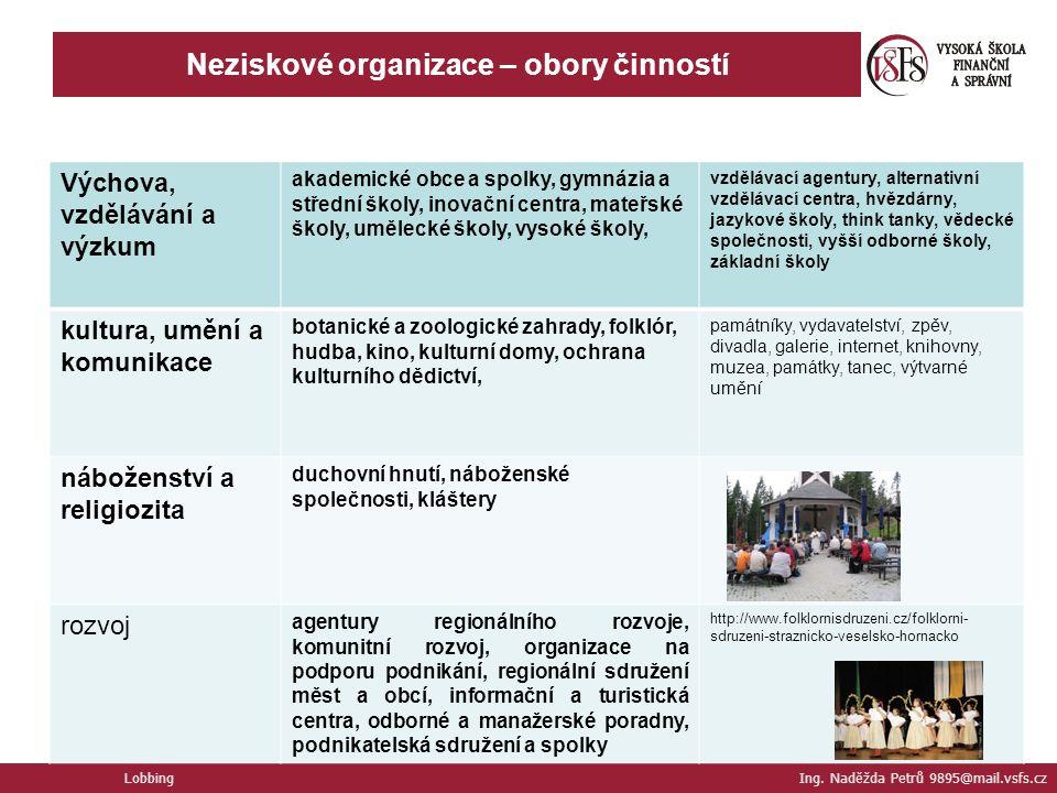 Neziskové organizace – obory činností Lobbing Ing.