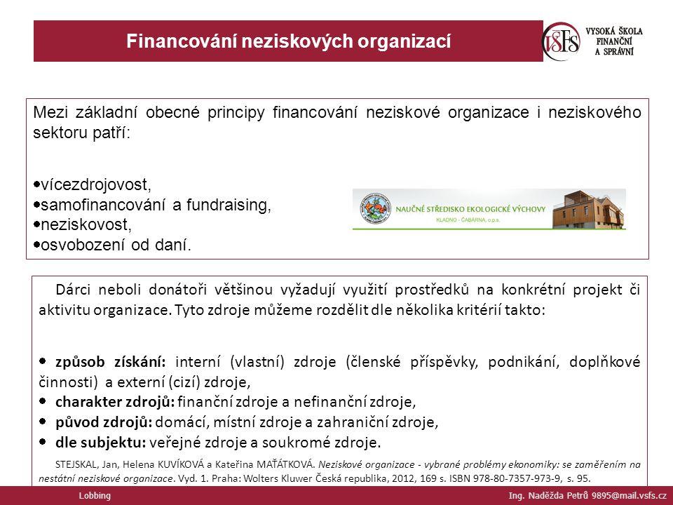 Financování neziskových organizací Lobbing Ing.