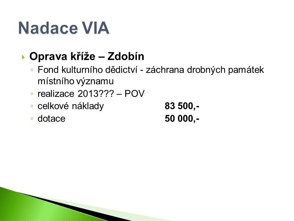  Oprava kříže – Zdobín ◦ Fond kulturního dědictví - záchrana drobných památek místního významu ◦ realizace 2013 .