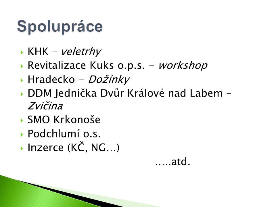  KHK – veletrhy  Revitalizace Kuks o.p.s. - workshop  Hradecko - Dožínky  DDM Jednička Dvůr Králové nad Labem – Zvičina  SMO Krkonoše  Podchlumí