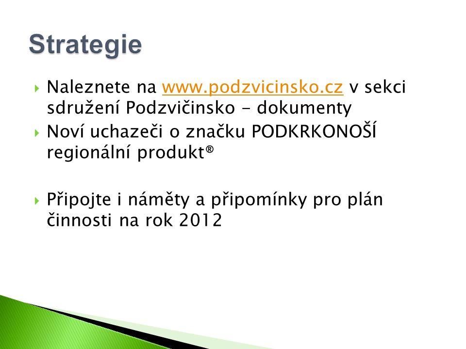  Naleznete na www.podzvicinsko.cz v sekci sdružení Podzvičinsko - dokumentywww.podzvicinsko.cz  Noví uchazeči o značku PODKRKONOŠÍ regionální produk