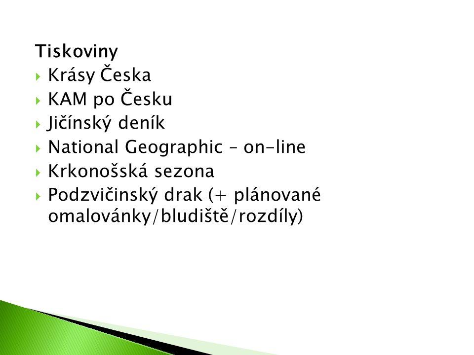 Tiskoviny  Krásy Česka  KAM po Česku  Jičínský deník  National Geographic – on-line  Krkonošská sezona  Podzvičinský drak (+ plánované omalovánky/bludiště/rozdíly)