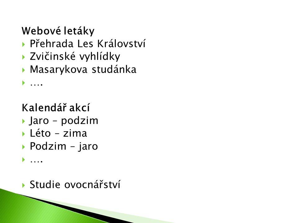 Webové letáky  Přehrada Les Království  Zvičinské vyhlídky  Masarykova studánka  …. Kalendář akcí  Jaro – podzim  Léto – zima  Podzim – jaro 