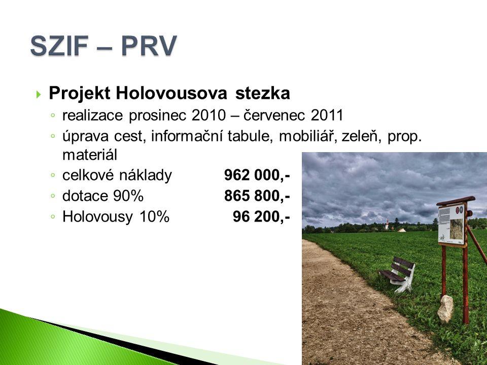  Projekt Holovousova stezka ◦ realizace prosinec 2010 – červenec 2011 ◦ úprava cest, informační tabule, mobiliář, zeleň, prop. materiál ◦ celkové nák