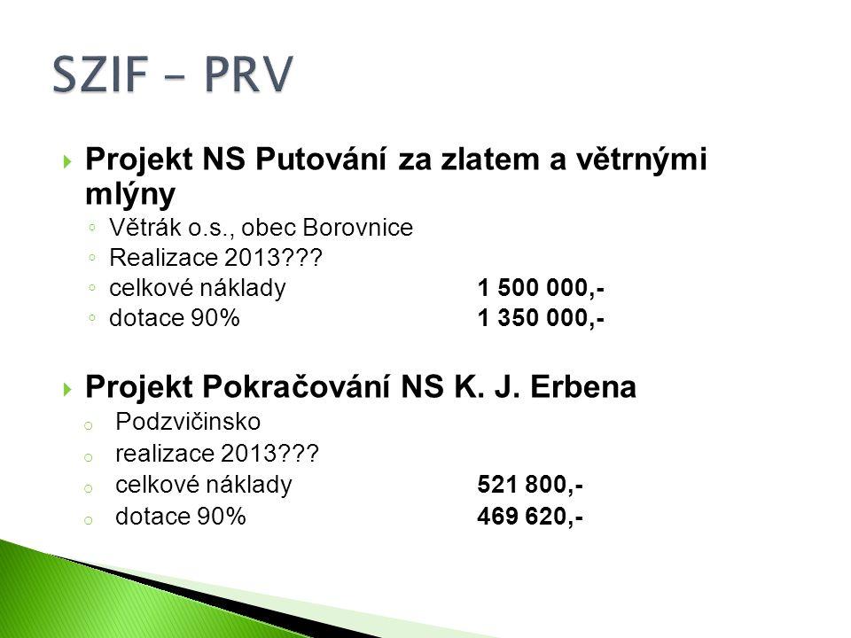  Projekt NS Putování za zlatem a větrnými mlýny ◦ Větrák o.s., obec Borovnice ◦ Realizace 2013??? ◦ celkové náklady 1 500 000,- ◦ dotace 90%1 350 000