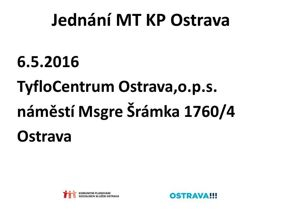 Jednání MT KP Ostrava 6.5.2016 TyfloCentrum Ostrava,o.p.s. náměstí Msgre Šrámka 1760/4 Ostrava