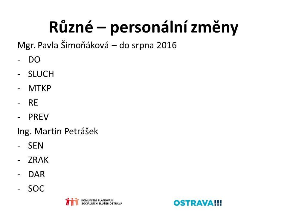 Různé – personální změny Mgr. Pavla Šimoňáková – do srpna 2016 -DO -SLUCH -MTKP -RE -PREV Ing. Martin Petrášek -SEN -ZRAK -DAR -SOC