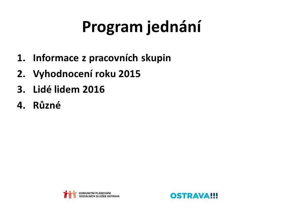 Program jednání 1.Informace z pracovních skupin 2.Vyhodnocení roku 2015 3.Lidé lidem 2016 4.Různé