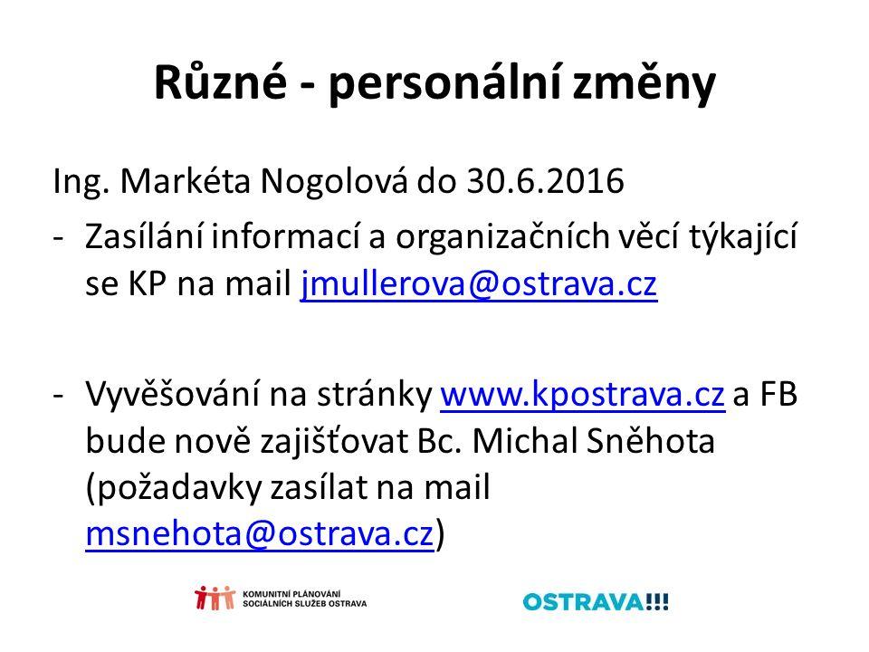 Různé - personální změny Ing. Markéta Nogolová do 30.6.2016 -Zasílání informací a organizačních věcí týkající se KP na mail jmullerova@ostrava.czjmull