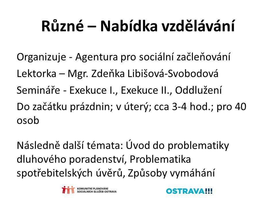 Různé – Nabídka vzdělávání Organizuje - Agentura pro sociální začleňování Lektorka – Mgr. Zdeňka Libišová-Svobodová Semináře - Exekuce I., Exekuce II.
