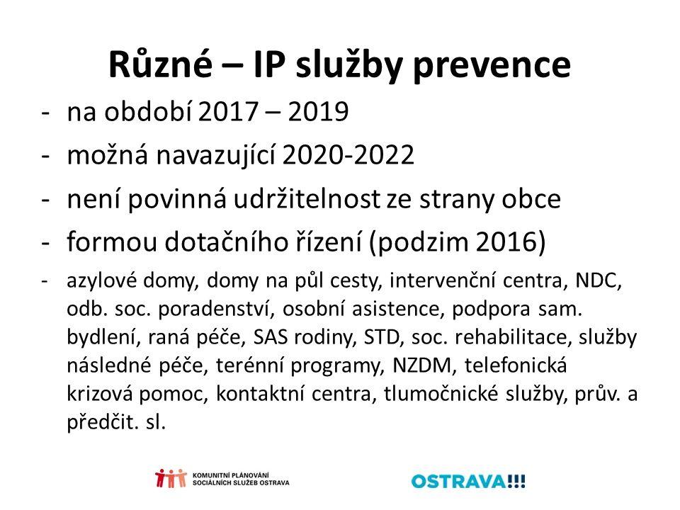 Různé – IP služby prevence -na období 2017 – 2019 -možná navazující 2020-2022 -není povinná udržitelnost ze strany obce -formou dotačního řízení (podzim 2016) -azylové domy, domy na půl cesty, intervenční centra, NDC, odb.