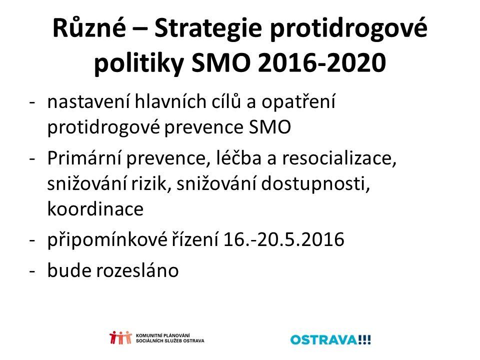 Různé – Strategie protidrogové politiky SMO 2016-2020 -nastavení hlavních cílů a opatření protidrogové prevence SMO -Primární prevence, léčba a resoci