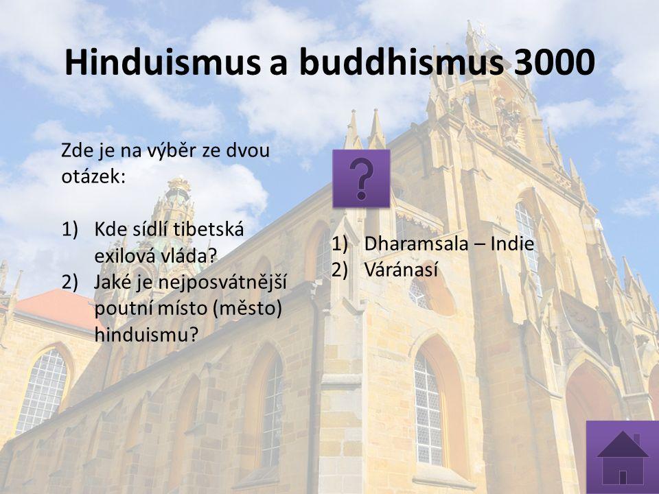 Hinduismus a buddhismus 3000 Zde je na výběr ze dvou otázek: 1)Kde sídlí tibetská exilová vláda.