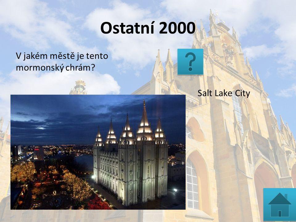 Ostatní 2000 Salt Lake City V jakém městě je tento mormonský chrám