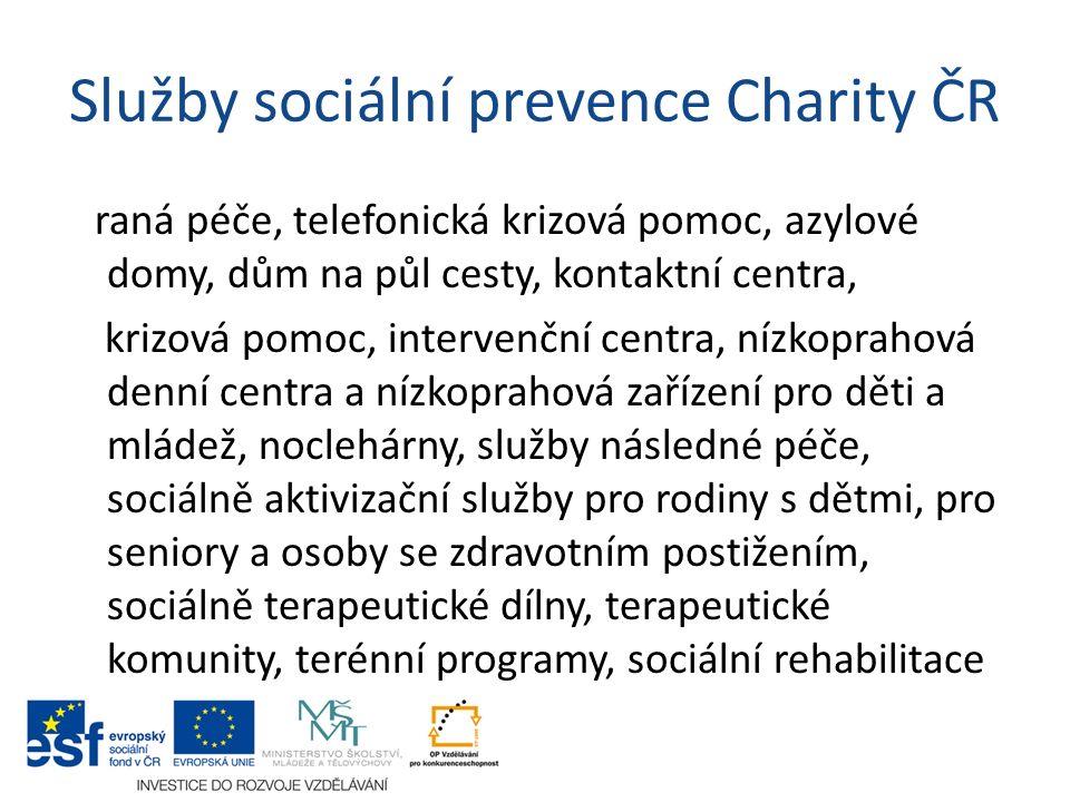 Služby sociální prevence Charity ČR raná péče, telefonická krizová pomoc, azylové domy, dům na půl cesty, kontaktní centra, krizová pomoc, intervenční