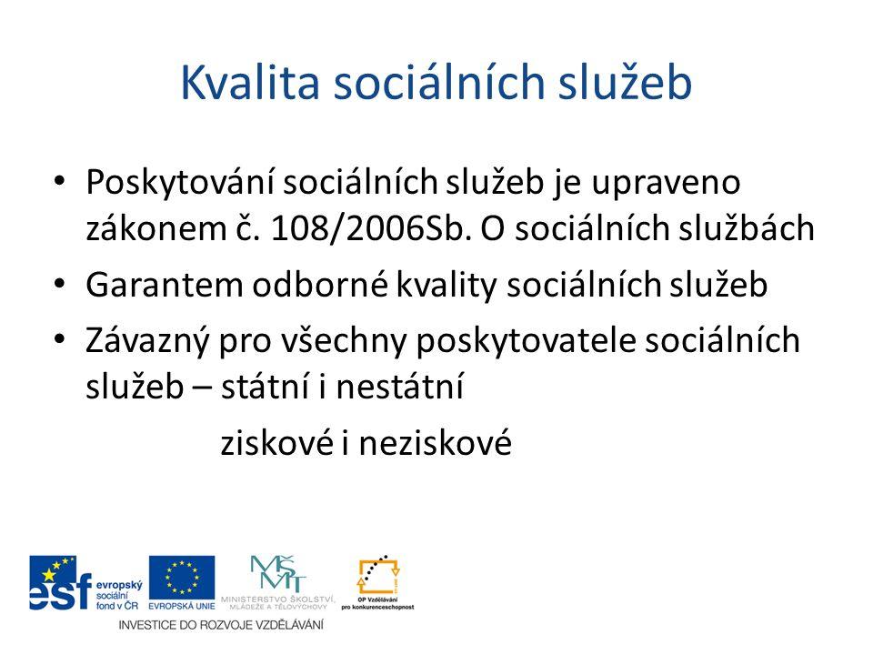 Kvalita sociálních služeb Poskytování sociálních služeb je upraveno zákonem č. 108/2006Sb. O sociálních službách Garantem odborné kvality sociálních s