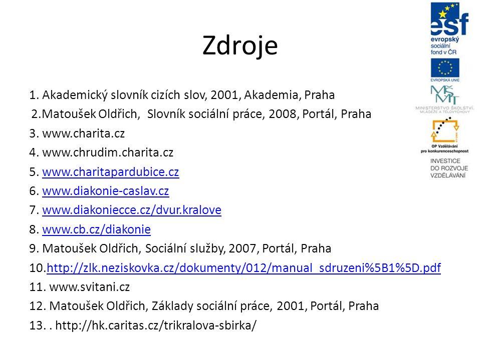 Zdroje 1. Akademický slovník cizích slov, 2001, Akademia, Praha 2.Matoušek Oldřich, Slovník sociální práce, 2008, Portál, Praha 3. www.charita.cz 4. w