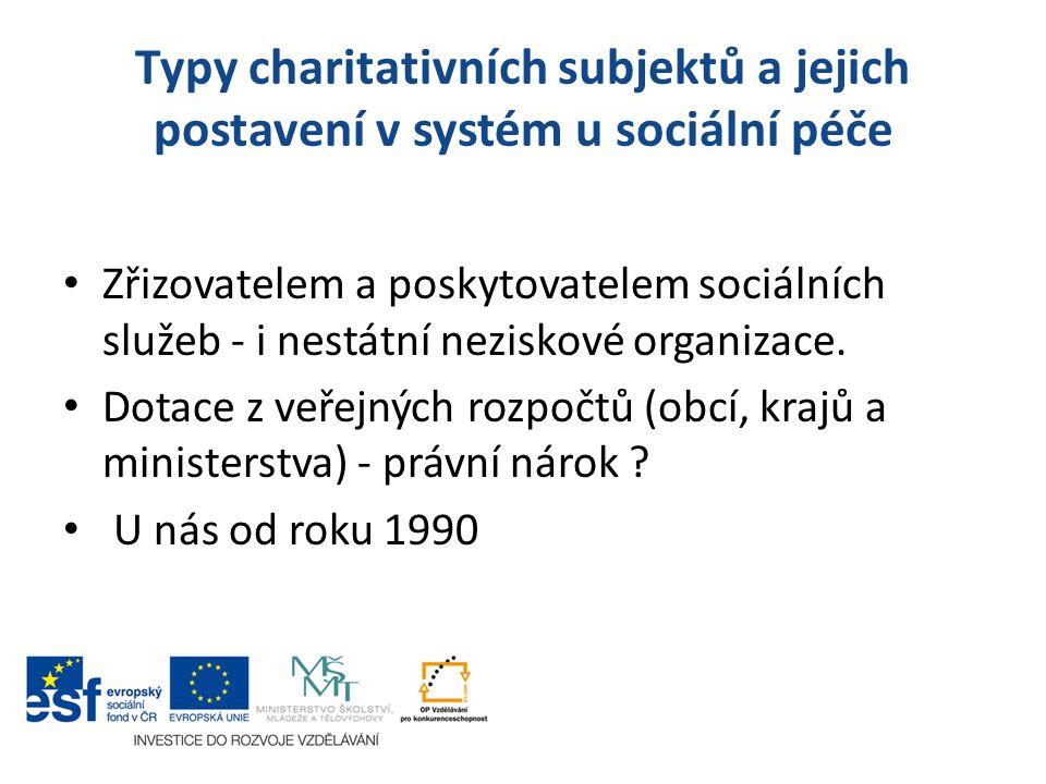 Typy charitativních subjektů a jejich postavení v systém u sociální péče Zřizovatelem a poskytovatelem sociálních služeb - i nestátní neziskové organi