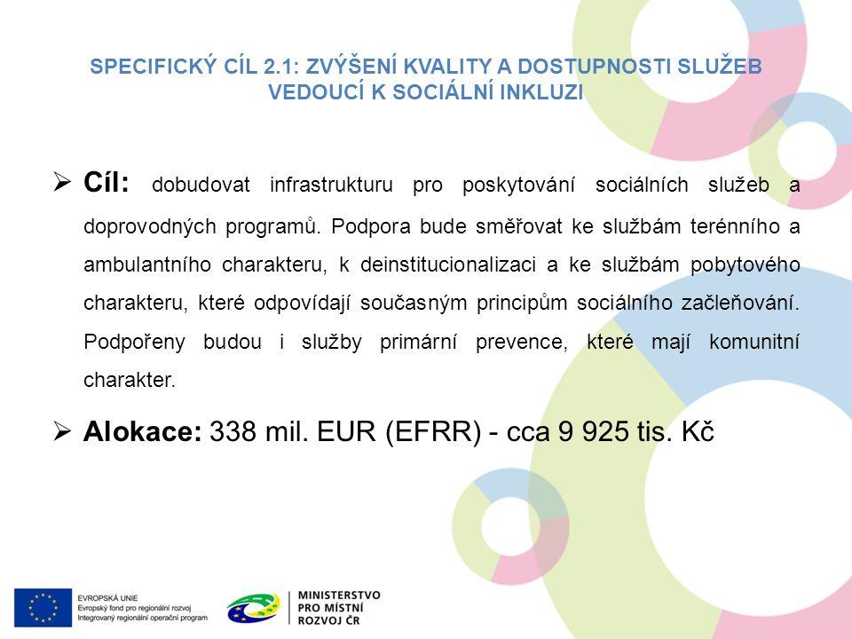 SPECIFICKÝ CÍL 2.1: ZVÝŠENÍ KVALITY A DOSTUPNOSTI SLUŽEB VEDOUCÍ K SOCIÁLNÍ INKLUZI  Cíl: dobudovat infrastrukturu pro poskytování sociálních služeb a doprovodných programů.