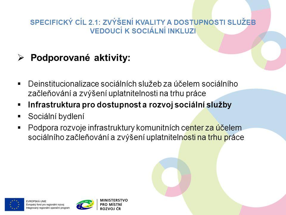 SPECIFICKÝ CÍL 2.1: ZVÝŠENÍ KVALITY A DOSTUPNOSTI SLUŽEB VEDOUCÍ K SOCIÁLNÍ INKLUZI  Podporované aktivity:  Deinstitucionalizace sociálních služeb za účelem sociálního začleňování a zvýšení uplatnitelnosti na trhu práce  Infrastruktura pro dostupnost a rozvoj sociální služby  Sociální bydlení  Podpora rozvoje infrastruktury komunitních center za účelem sociálního začleňování a zvýšení uplatnitelnosti na trhu práce