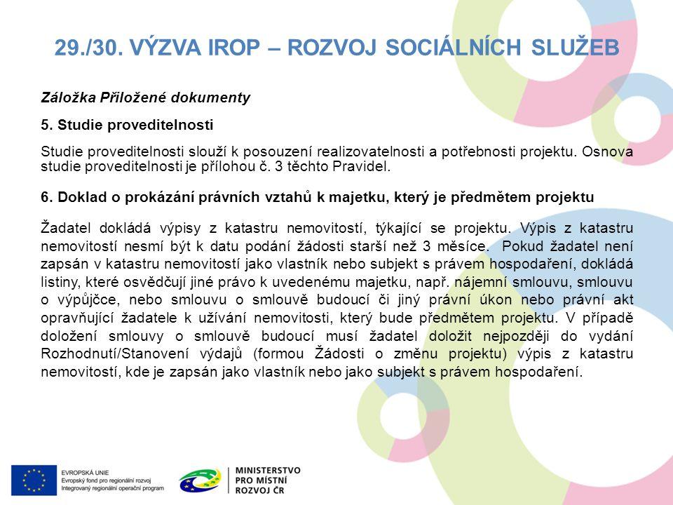 Záložka Přiložené dokumenty 5.