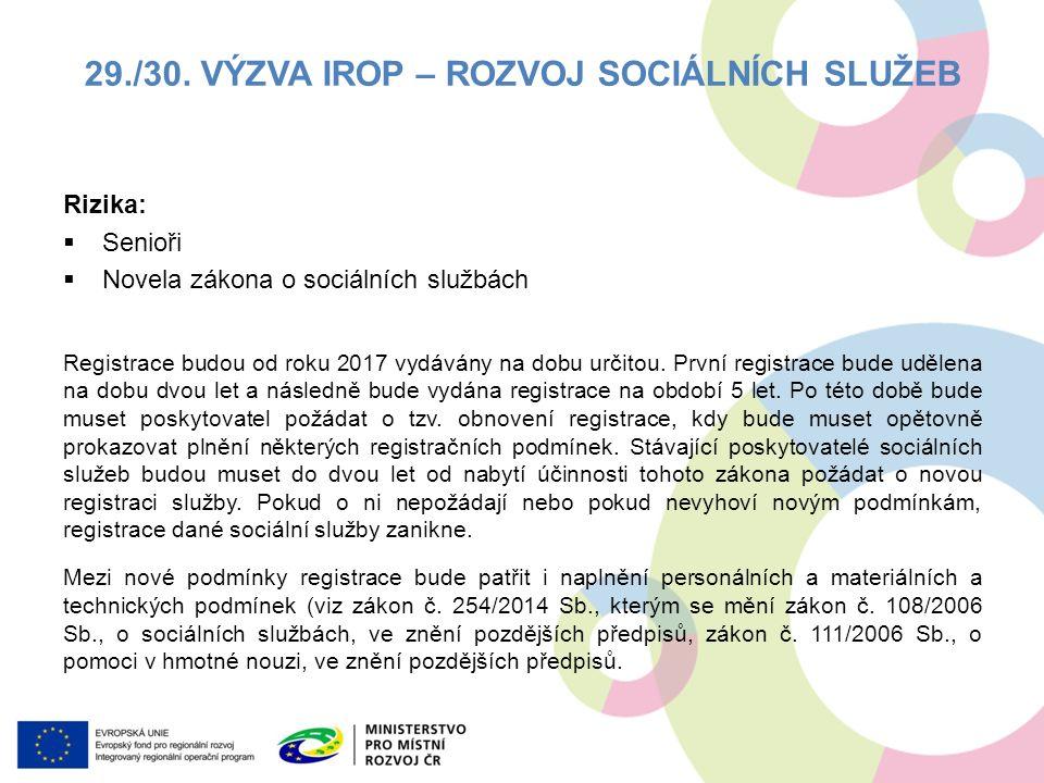 Rizika:  Senioři  Novela zákona o sociálních službách Registrace budou od roku 2017 vydávány na dobu určitou.