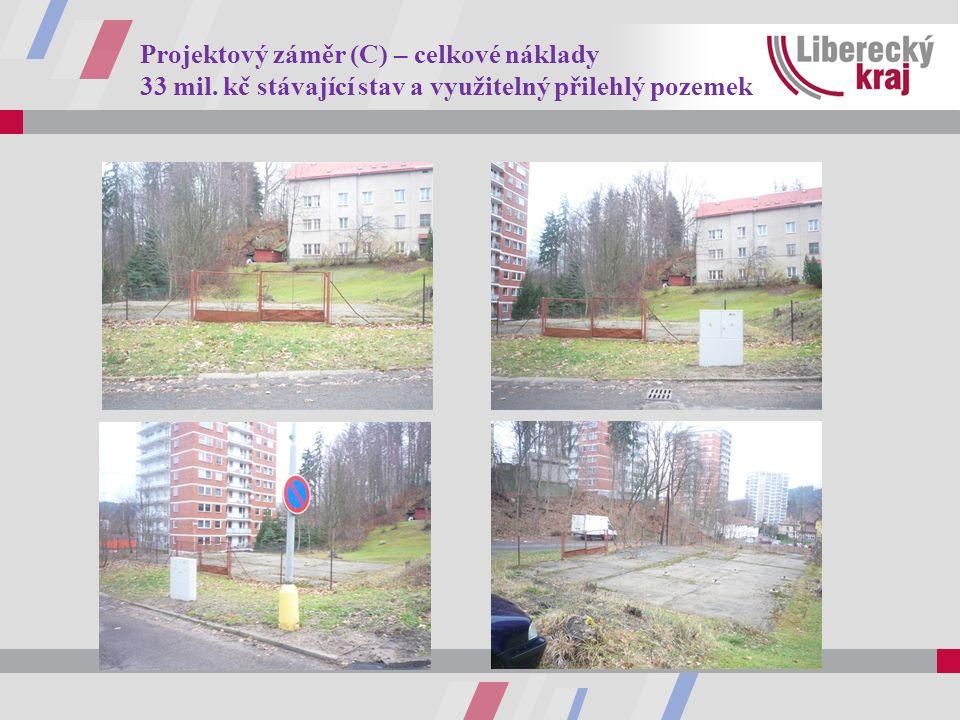 Projektový záměr (C) – celkové náklady 33 mil. kč stávající stav a využitelný přilehlý pozemek