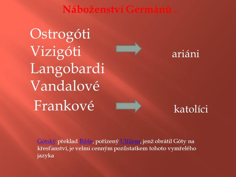 Náboženství Germánů (6) Ostrogóti Vizigóti Langobardi Vandalové ariáni Frankové katolíci GótskýGótský překlad Bible, pořízený Ulfilem, jenž obrátil Góty na křesťanství, je velmi cenným pozůstatkem tohoto vymřelého jazykaBibleUlfilem