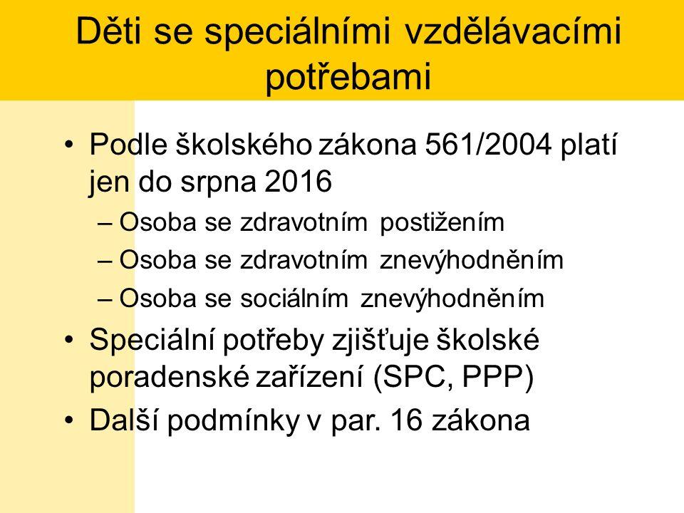 Zdravotní postižení pro účely 561/2004 Mentální, tělesné, zraqkové nebo sluchové postižení, vady řeči, souběžné postižení více vadami, autismus a vývojové poruchy učení nebo chování