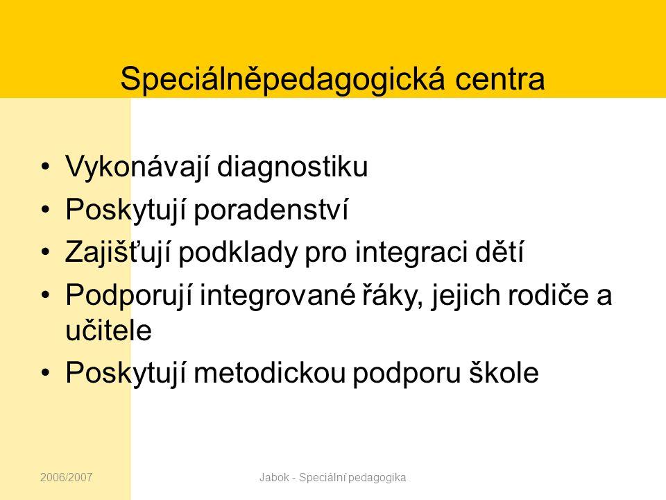 2006/2007Jabok - Speciální pedagogika Legislativa Zákon č.