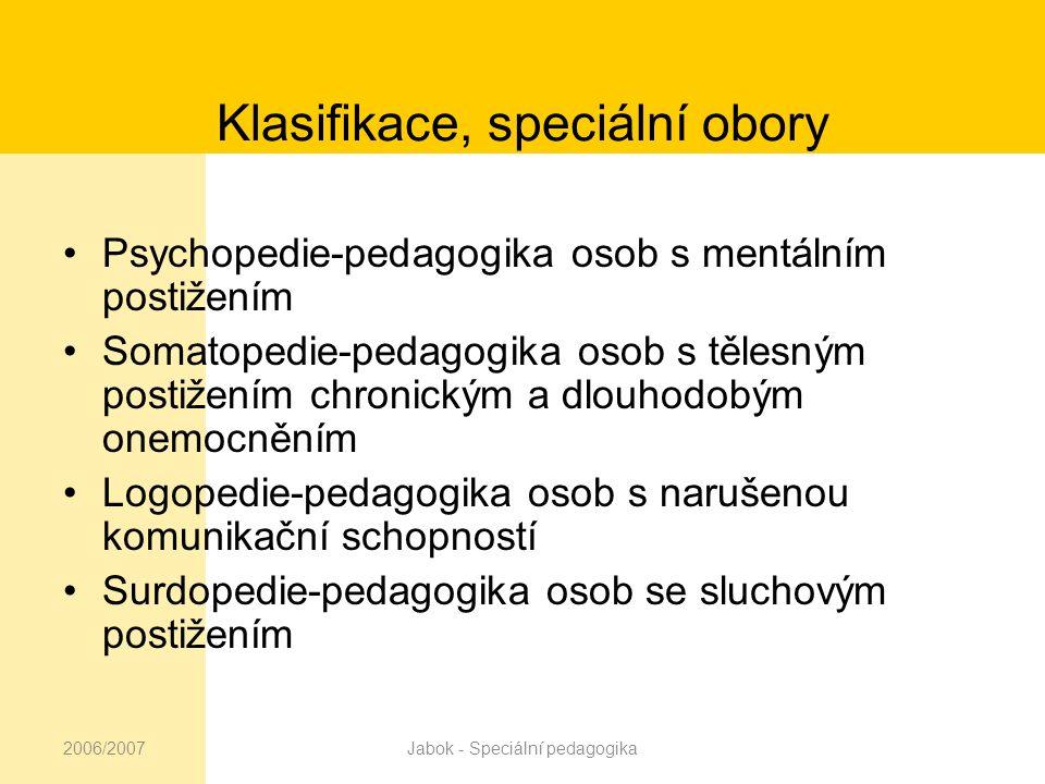 2006/2007Jabok - Speciální pedagogika Klasifikace, speciální obory Oftalmopedie-pedagogika osob se zrakovým postižením Specifické poruchy učení nebo chování Edukace jedinců s více vadami, kombinovaným postižením