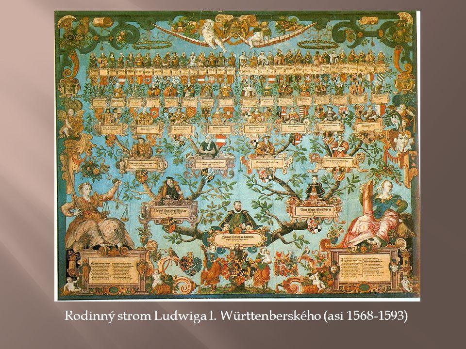 Rodinný strom Ludwiga I. Württenberského (asi 1568-1593)