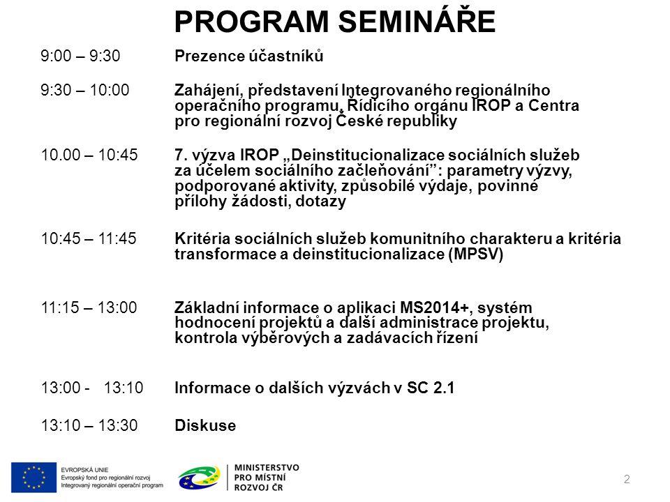 PROGRAM SEMINÁŘE 9:00 – 9:30Prezence účastníků 9:30 – 10:00Zahájení, představení Integrovaného regionálního operačního programu, Řídicího orgánu IROP a Centra pro regionální rozvoj České republiky 10.00 – 10:457.