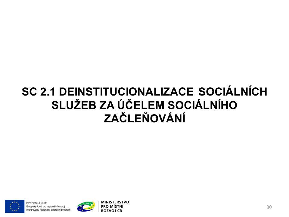 30 SC 2.1 DEINSTITUCIONALIZACE SOCIÁLNÍCH SLUŽEB ZA ÚČELEM SOCIÁLNÍHO ZAČLEŇOVÁNÍ