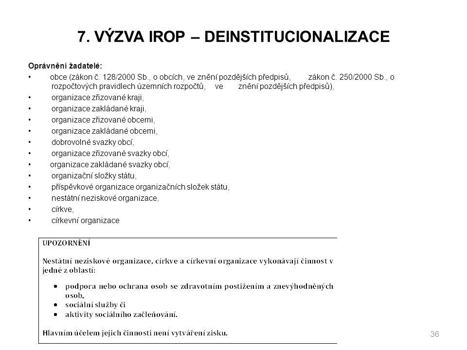 7. VÝZVA IROP – DEINSTITUCIONALIZACE Oprávnění žadatelé: obce (zákon č.