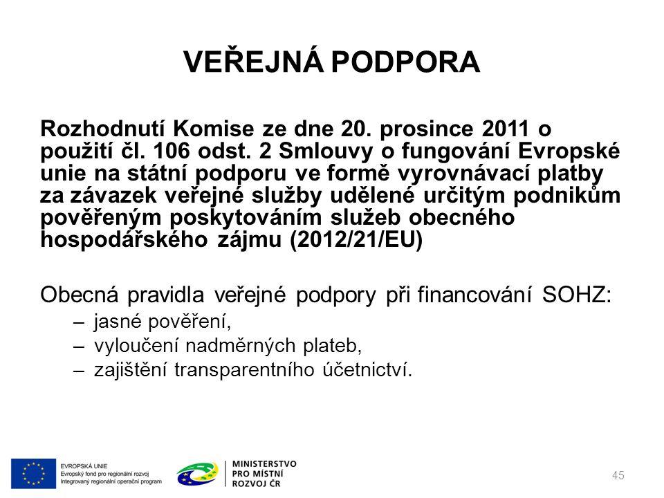 VEŘEJNÁ PODPORA Rozhodnutí Komise ze dne 20. prosince 2011 o použití čl.