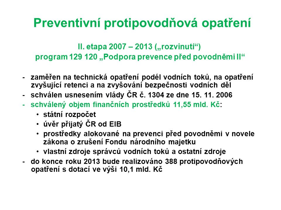 Preventivní protipovodňová opatření II.