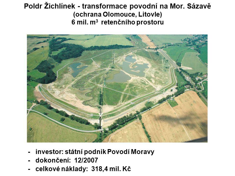 Poldr Žichlínek - transformace povodní na Mor. Sázavě (ochrana Olomouce, Litovle) 6 mil.