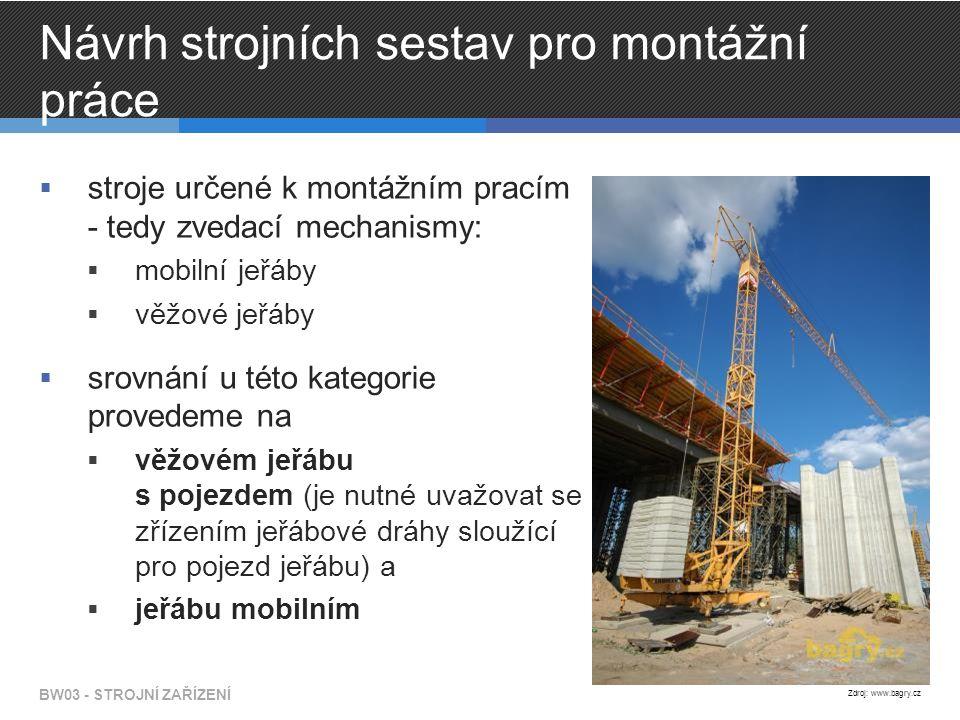 Návrh strojních sestav pro montážní práce  stroje určené k montážním pracím - tedy zvedací mechanismy:  mobilní jeřáby  věžové jeřáby  srovnání u této kategorie provedeme na  věžovém jeřábu s pojezdem (je nutné uvažovat se zřízením jeřábové dráhy sloužící pro pojezd jeřábu) a  jeřábu mobilním BW03 - STROJNÍ ZAŘÍZENÍ Zdroj: www.bagry.cz