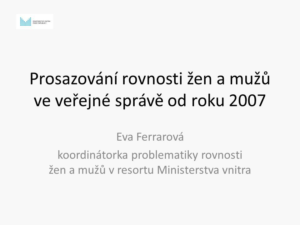 Prosazování rovnosti žen a mužů ve veřejné správě od roku 2007 Eva Ferrarová koordinátorka problematiky rovnosti žen a mužů v resortu Ministerstva vnitra