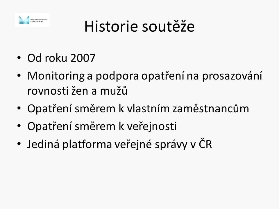 Historie soutěže Od roku 2007 Monitoring a podpora opatření na prosazování rovnosti žen a mužů Opatření směrem k vlastním zaměstnancům Opatření směrem k veřejnosti Jediná platforma veřejné správy v ČR