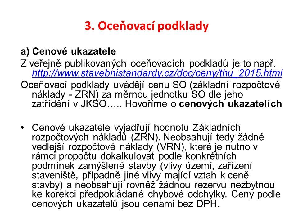 3. Oceňovací podklady a) Cenové ukazatele Z veřejně publikovaných oceňovacích podkladů je to např. http://www.stavebnistandardy.cz/doc/ceny/thu_2015.h