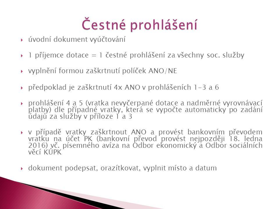  úvodní dokument vyúčtování  1 příjemce dotace = 1 čestné prohlášení za všechny soc.