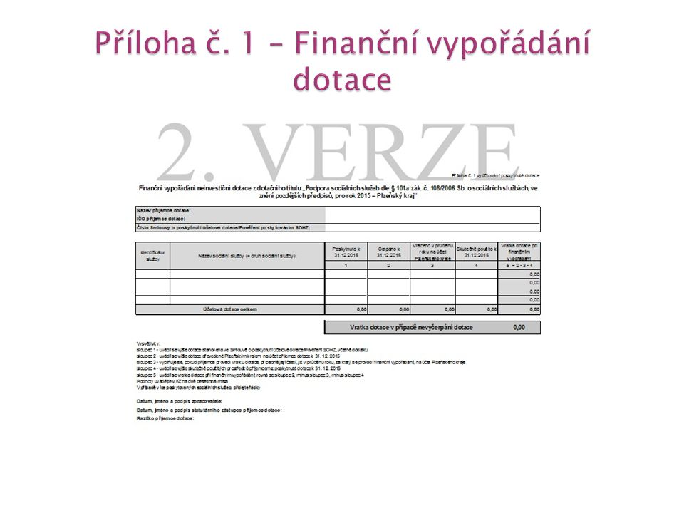  příloha se vztahuje pouze k poskytnuté dotaci v rámci dotačního titulu dle § 101a zák.