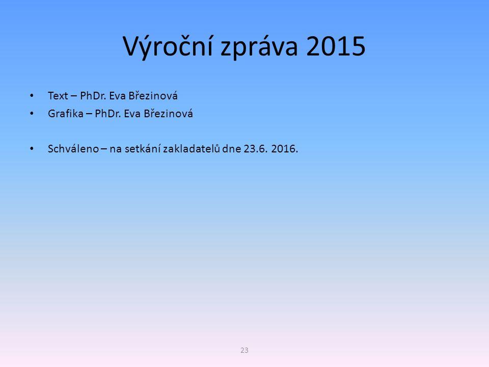 Výroční zpráva 2015 Text – PhDr. Eva Březinová Grafika – PhDr. Eva Březinová Schváleno – na setkání zakladatelů dne 23.6. 2016. 23