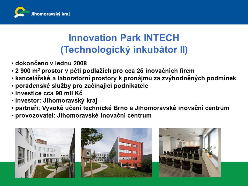 INBIT – Biotechnologické centrum 2 957 m 2 plochy pro cca 25 začínajících biotechnologických firem v prostorách univerzitního kampusu Masarykovi univerzity otevřen v říjnu 2008 kancelářské a laboratorní prostory za zvýhodněných podmínek poradenské služby pro biotechnologické firmy celkové náklady projektu cca 174 mil Kč investor: Jihomoravský kraj provozovatel: Jihomoravské inovační centrum odborný garant: Masarykova univerzita