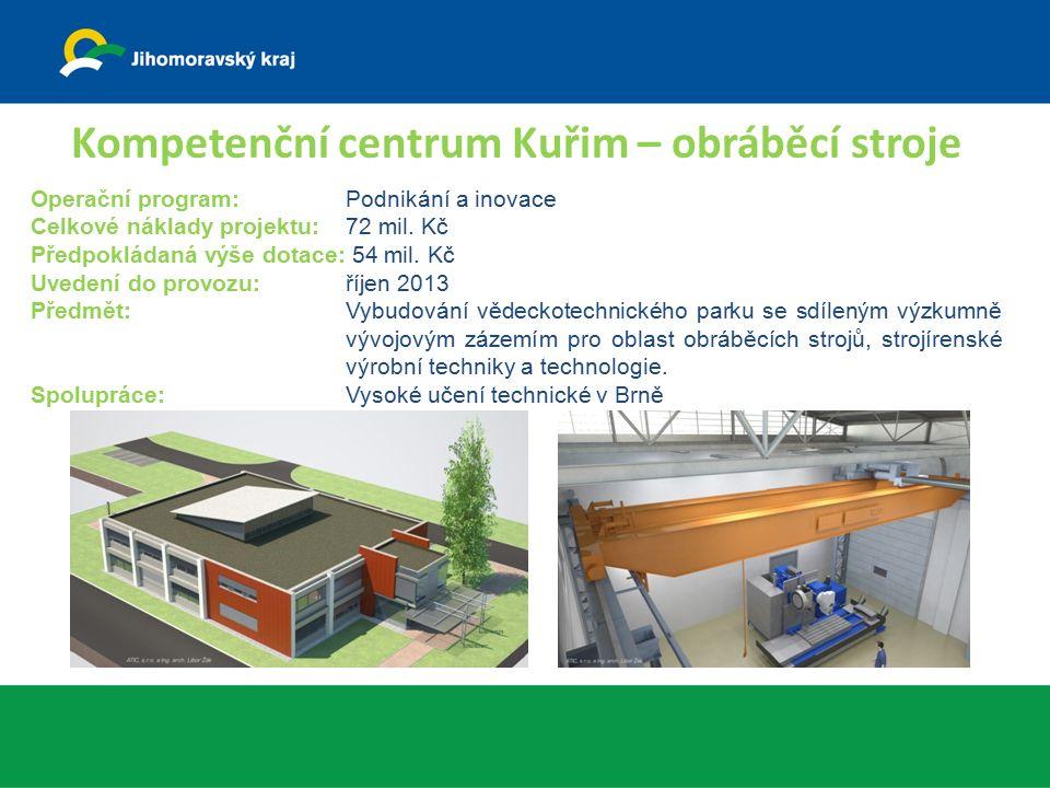 Kompetenční centrum Kuřim – obráběcí stroje Operační program: Podnikání a inovace Celkové náklady projektu: 72 mil. Kč Předpokládaná výše dotace: 54 m