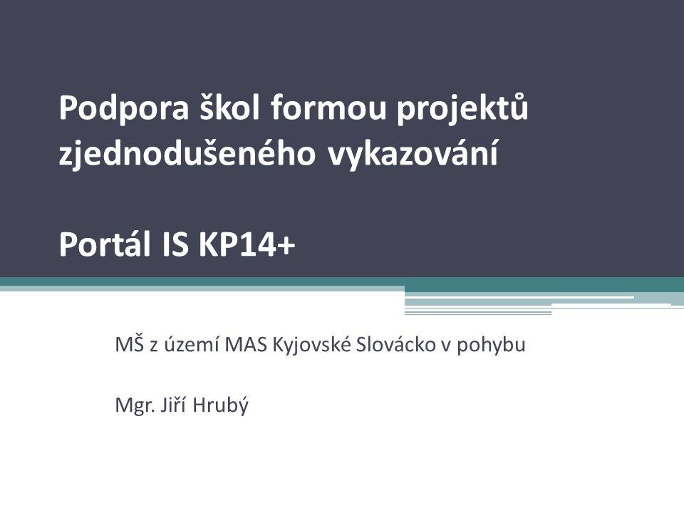 Podpora škol formou projektů zjednodušeného vykazování Portál IS KP14+ MŠ z území MAS Kyjovské Slovácko v pohybu Mgr.