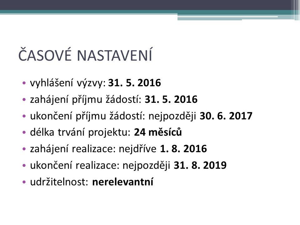 ČASOVÉ NASTAVENÍ vyhlášení výzvy: 31. 5. 2016 zahájení příjmu žádostí: 31.
